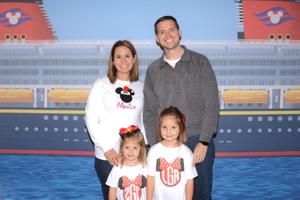 Photo of Zach, Monica, Lulu, & Zeffie on Disney Cruise